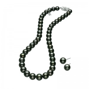 Mikimoto White Gold Pearl Set With 1 Black South Sea Pearl Necklace With 43 Round Pearls A+ 10.7X8.8Mm 14.5Mm 16