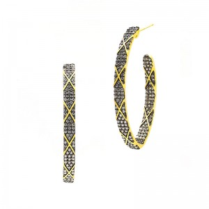 Signature Pointed OvalPave Stripe Hoop Earrings