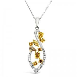 18K White & Yellow Gold Fancy Diamond Pendant