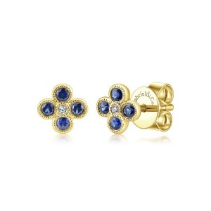14k Yellow Gold Round Diamond & Sapphire Stud Earrings