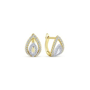 14K Yellow-White Gold Double Marquise 10mm Diamond Huggie Earrings