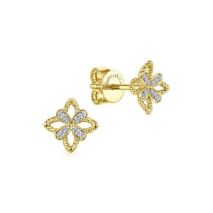 14K Yellow Gold Floral Diamond Stud Earrings