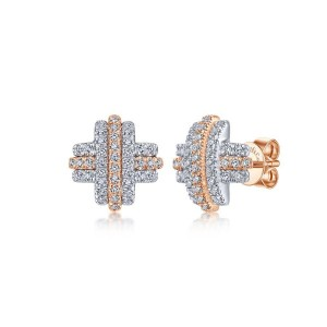 14K White-Rose Gold Diamond X Stud Earrings