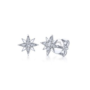 14K White Gold Diamond Stud Star Earrings