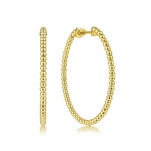 14K Yellow Plain Gold 40mm Beaded Round Hoop Earrings