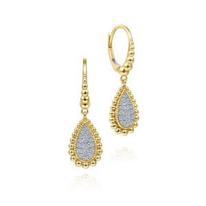 14K Yellow-White Gold Teardrop Shape Beaded Frame Diamond Drop Earrings
