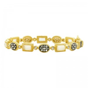 Gilded Cable Stone Station Hinge Bracelet