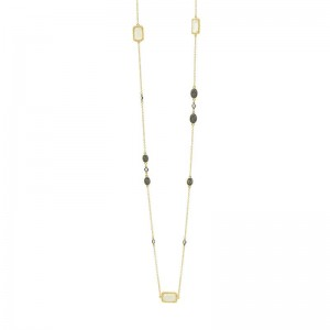 Gilded Cable Stone Necklace