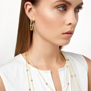 Gilded Cable TwistedPave Station Hoops