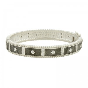 Industrial Finish Bezel Bar Hinge Bracelet