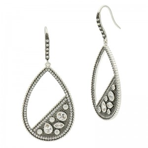 Industrial FinishPave Open Teardrop Earring