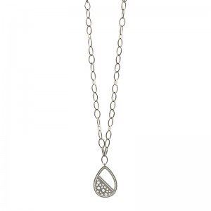 Industrial Finish Teardrop Large Pendant Necklace