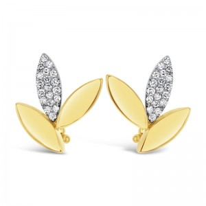 18K Gold & Diamond Petal Earrings