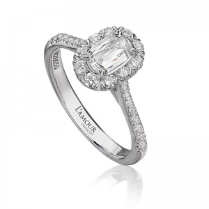 L'Amour Collection by CHRISTOPHER DESIGNS  Diamond Halo Engagement Ring