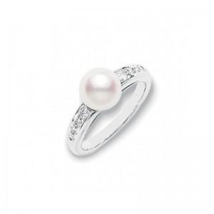 Mikimoto 18 karat white gold diamond and pearl ring.