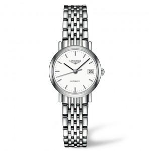 Longines Elegant White Dial Stainless Steel Ladies Watch