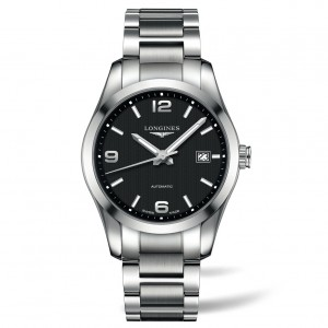 Longines Conquest Automatic Black Dial Stainless Steel Mens Watch