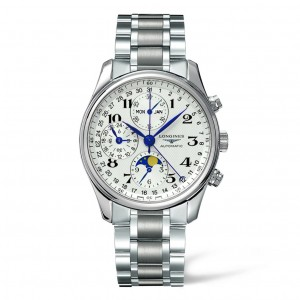 Longines Master Collection Silver Dial Chronograph Stainless Steel Mens Watch