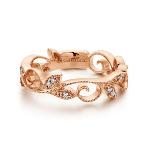 14K Rose Gold Scrolling Floral Diamond Ring