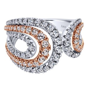 18K White/Rose Gold Split Shank Wide Band Diamond Ring