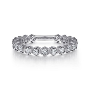 14K White Gold Hexagonal Station Stackable Diamond Band