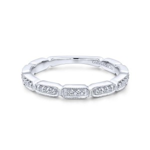 14K White Gold Segmented Diamond Stackable Ring