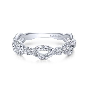 14K White Gold Twisted Pave Diamond Stackable Ring