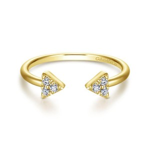 14K Yellow Gold Pave Diamond Triangle Split Ring