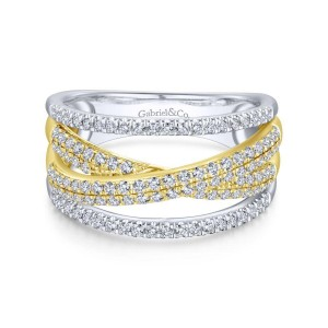 14K Yellow and White Gold Criss Crossing Multi Row Diamond Ring
