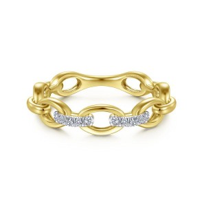 14K Yellow Gold Oval Chain Link Diamond Ring