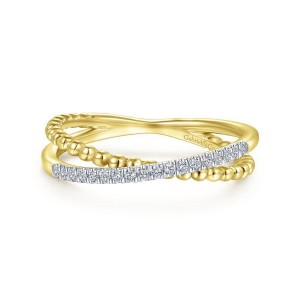 14K Yellow Gold Beaded Pave Diamond Criss Cross Ring