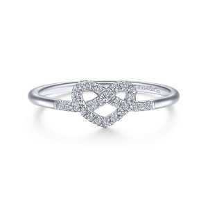 14K White Gold Diamond Pretzel Love Knot Heart Ring