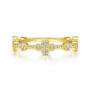 14K Yellow Gold Bezel Set Diamond Quatrefoil Station Ring