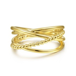 14K Yellow Gold Bujukan Bead Criss Cross Ring