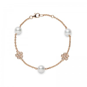 Mikimoto Cherry Blossom Akoya Pearl and  Diamond Bracelet