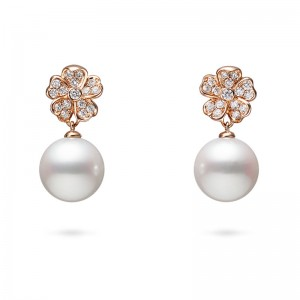 MIkimoto Cherry Blossom Akoya Pearl and Diamond Earrings