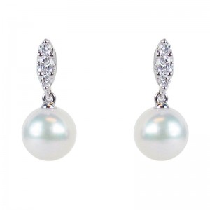 Mikimoto Morning Dew Akoya Pearl and Diamond Earrings