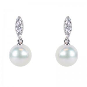 Mikimoto Morning Dew Akoya Pearl and Diamond Earrings