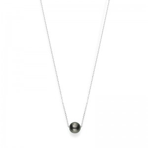 Mikimoto 10 Mm Tahitian Cultured Single Black Pearl Necklace