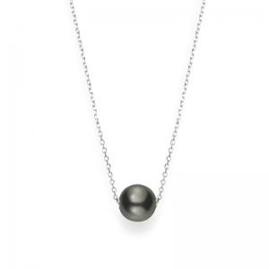 Mikimoto 10 Mm Tahitian Cultured Single Black Pearl Necklace