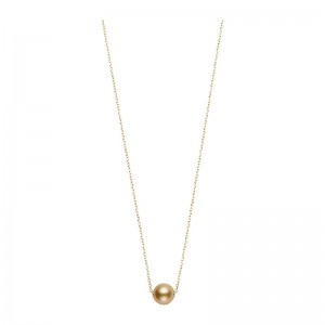 Mikimoto Yellow Gold Pendant With 1 Round Golden South Sea Pearl A+ 10Mm 18