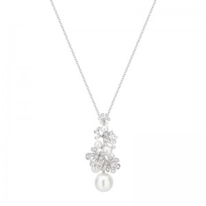 Mikimoto White Gold Pearl & Diamond Pendant Wssp 11Mm Akoya 4.5-6Mm (7); Diamond .55Ct(37) 23.5
