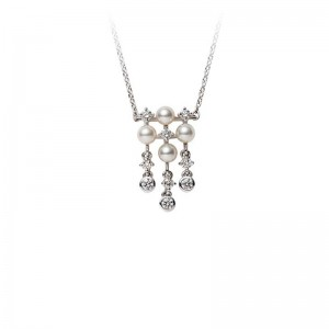 Mikimoto White Gold Necklace With 4 Round Akoya Pearls 3Mm A+ & 9 Round Diamonds .20Cts G Vs2 19.5