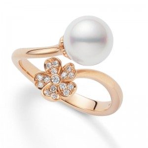 MIkimoto Cherry Blossom Akoya Pearl and Diamond Ring