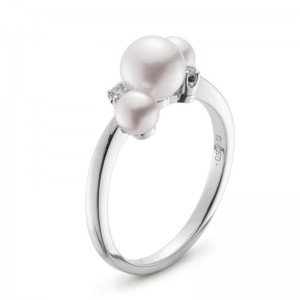 Mikimoto White Gold Ring With 3 Round Akoya Cultured Pearls A+ 1 @ 6Mm & 2 @ 4Mm & 2 Round Diamonds 0.02Ct G Vs2