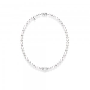 Mikimoto White Gold Necklace With 56 Round Japanese Akoya Cultured Pearls A 7.5-7Mm & 1 White South Seal Pearl A+