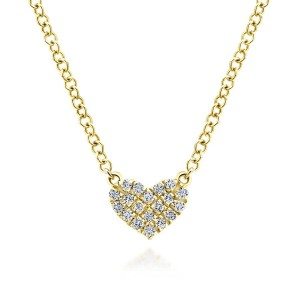 14K Yellow Gold Pave Diamond Pendant Heart Necklace