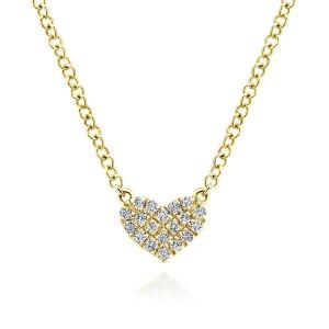 14K Yellow Gold Pave Diamond Pendant Heart Necklace