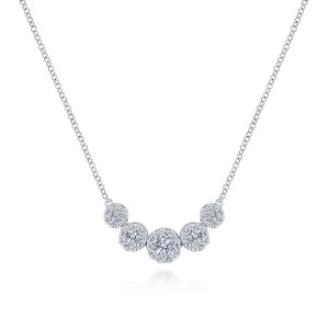 14K White Gold Round Diamond Halo Necklace