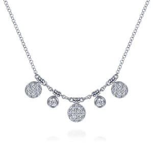 14K White Gold Round Diamond Pave and Bezel Charm Necklace